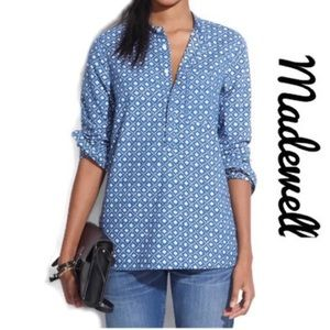Madewell Chambray Floralstamp Popover Tunic Top XS